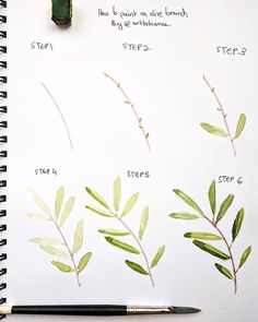 TUTORIAL!  Today I decided to share a step by step tutorial of an olive branch with you guys! Hope you like it.  If you try this…