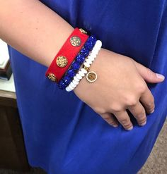Red, White & Blue #RusticCuff #KelleyJewelers #DowntownWeatherfordOK #4thofJuly Rustic Cuff, Bangles, Bracelets, Bridesmaid Gifts, 4th Of July, Red, Blue, Jewelry, Ideas