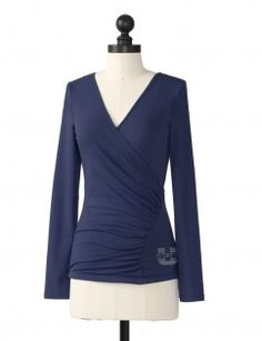 Utah State University Faux Wrap Top in Navy... Hmm would be good to have some paraphanelia from my soon to be alma mater