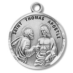 "St. Thomas the Apostle Round Patron Saint Medal - Round - Sterling Silver - On 20"" Stainless Chain - PatronSaintMedals.com"