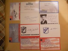 10 DIFF  MISC ACES/DOOLITTLES RAIDERS/BLACKSHEEP AUTOGRAPHS/SIGNED INDEX CARDS
