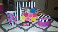 Floral and stripes diy gift idea. Lil sis gift. Pinstripe and roses. Sorority crafts. Mug. Picture frames