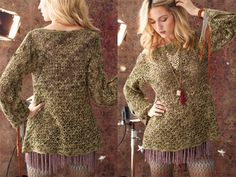 Tunisian Lace Tunic, Vogue Knitting Crochet Mary Beth Temples hippie-chic Tunisian-crochet lace tunic is stitched with Koigu Wool Designs KPPPM. Vogue Knitting, Tunisian Crochet, Crochet Lace, Lace Tunic, Knitting Videos, Crochet Patterns For Beginners, Crochet Clothes, Clothes For Women, Sweaters