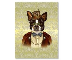"Steampunk Boston Terrier Victorian print  with ornate background.   8.5"" x 11""  $20.00  Perfect little Victorian American steampunk gentleman decked out in a tiny top hat with a clock, spectacles, bow tie and red velvet jacket."