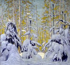 Winter Woods by Lawren Harris of the Group of Seven - Art Gallery of Ontario Tom Thomson, Group Of Seven Artists, Group Of Seven Paintings, Emily Carr, Winter Painting, Winter Art, Winter Trees, Snowy Trees, Canadian Painters