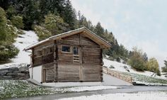This small larch barn in the valley of Bagnes, Wallis in Switzerland, combines… Alpine House, Scandinavian Architecture, Agricultural Buildings, Energy Efficient Homes, Wallis, Winter House, Modern Rustic, Solar Power, Switzerland