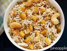 Pineapple Fried Rice Recipe with stepwise pics. Delicious spiced fried rice made with fresh pineapple. pineapple fried rice tastes very good. Cooked Rice Recipes, Leftover Rice Recipes, Pineapple Fried Rice, Recipe Collection, Fries, Yummy Food, Snacks, Cooking, Ethnic Recipes
