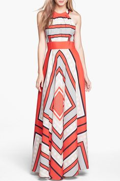 Color Block Tie-Up Fit and Flare Maxi Chiffon Dress