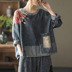 Denim T Shirt, Denim Top, Filles Alternatives, Ropa Shabby Chic, Linen Dress Pattern, Floral Denim, Denim Patchwork, Sewing Clothes, Redo Clothes