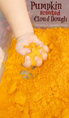 Amazing pumpkin scented cloud dough perfect for Fall sensory play! This stuff is so fun for kids- it is moldable yet soft and fluffy. Kids will delight in whipping up all sorts of pretend treats and can even open up a pumpkin bakery (smells just like pumpkin pie!)
