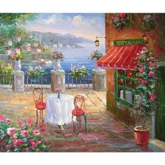 Hand Painted Oil Painting On Canvas Impression Mediterranean Seaside Restaurant