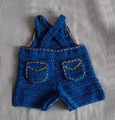 Ravelry: Baby Jeans, Romper, Overalls with Appliques of beetle car and cowboy hat pattern by Cathy Ren