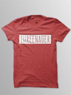 Threenager shirt toddler shirt 3 year old birthday shirt by ConchBlossom on Etsy https://www.etsy.com/listing/292587993/threenager-shirt-toddler-shirt-3-year