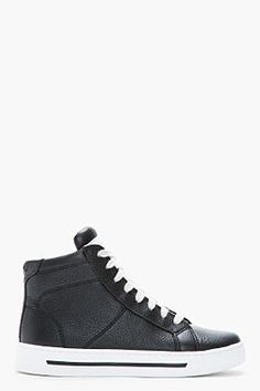 Marc By Marc Jacobs Black Glazed Calf Leather High top Sneakers 5bcc5cd0b56