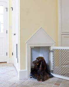 built-in dog crate. This is a really good idea.