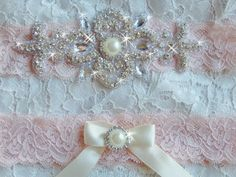 Blush Lace Wedding Garter Set, Wedding Dress Garter, Bridal Garter, Blush Pink Wedding Garter, Rhinestone Garter Set, Wedding Garder by bridalambrosia on Etsy