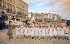 Jan Verhas, La revue des écoles en 1878 @@@@......http://www.pinterest.com/lois801/art-i-love-~-school-time/