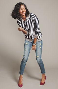 Caslon® Sweatshirt, Halogen® Shirt & KUT from the Kloth Skinny Jeans | Nordstrom