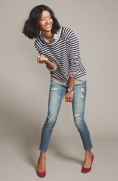 Caslon® Sweatshirt, Halogen® Shirt & KUT from the Kloth Skinny Jeans | Nordstrom