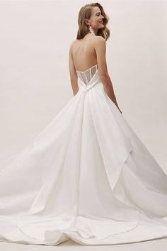 Carrington Gown Ivory in Bride | BHLDN Western Wedding Dresses, Wedding Dress Styles, Bridal Outfits, Bridal Dresses, Wedding Bride, Wedding Gowns, Lace Wedding, Wedding Ideas, Backless Wedding