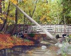 "Crimson Bridge - 8"" x 10"" Digital Painting Print - autumn painting - fall leaves print - nature print - beautiful painting - orange - yellow - brown - nature trail"