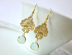 Gold Filigree Moroccan Earrings. Alice Blue Lace Filigree Chandelier Earrings…