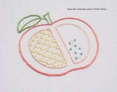 Apple Slice hand embroidery pattern by KFNeedleworkDesign on Etsy, $3.00
