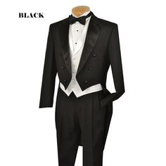 tails tuxedo | ... Suits, Church Suit. 6 Button Classic Peak Lapel Tail Tuxedo - Black