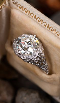 Here she is. A stunning 3.6 carat old European cut diamond in filigree. Sku AG17309. Gold Simple Engagement Ring, Filigree Engagement Ring, Engagement Ring Shapes, Round Diamond Engagement Rings, Three Stone Engagement Rings, Antique Engagement Rings, Solitaire Engagement, Antique Diamond Rings, Vintage Diamond