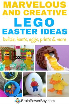 Super fun LEGO Easter Ideas. You have to try these with your kids. These are the best LEGO Easter projects and activities we could find! LEGO Easter egg hunt, printing with Duplo, LEGO Easter Eggs, plus awesome LEGO Easter builds including building directions.