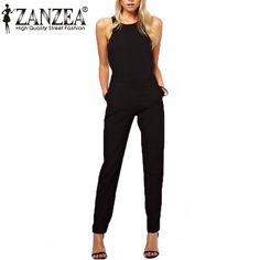 Casual Black Back Zipper Sleeveless Long  Jumpsuit