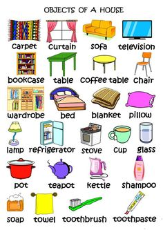 Objects of a Houseuse English Learning Spoken, Learning English For Kids, English Worksheets For Kids, English Lessons For Kids, Kids English, Learn English Grammar, English Vocabulary Words, Learn English Words, English Language Learning