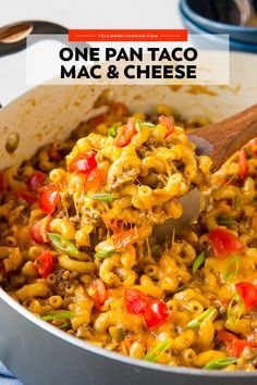 One Pan Taco Macaroni and Cheese One Pot Taco Mac and Cheese is the perfect blend of seasoned ground beef, pasta, cheese and your favorite taco toppings all in one quick and easy dish. Mexican Mac And Cheese, Taco Mac And Cheese, Boxed Mac And Cheese, Cheese Tacos, Pasta Cheese, Mac Cheese Recipes, Bread Recipes, Taco Macaroni, Macaroni Cheese