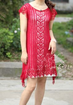 Red crochet dress ♥LCD♥ with diagrams