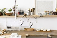 Hand-formed jewellery and home wares by Australian artist and designer Abby Seymour Art Studio Design, Interior Design Studio, Workshop Studio, Studio Organization, Workspace Inspiration, Workspace Design, Home Office, Workspaces, Home Living Room