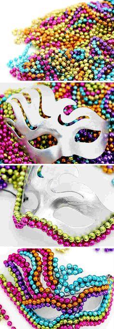 DIY Beaded Mardi Gras Mask | 7 DIY Mardi Gras Masks. Quinceanera Masquerade. Masquerade Ball. Sweet 16 Masquerade