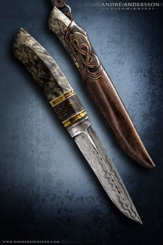 André Andersson custom knives from Sweden Cool Knives, Knives And Tools, Knives And Swords, Pretty Knives, Unique Knives, Damascus Blade, Damascus Knife, Damascus Steel, Revolver