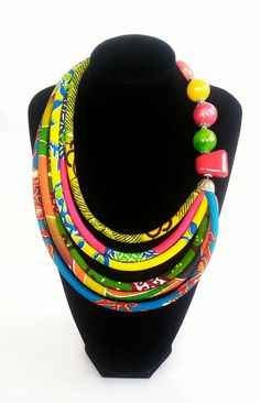 Multicolour African Print Necklace Ethnic by AfrogenicCollections