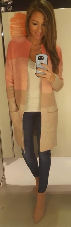 #winter #outfits pink and gray cardigan