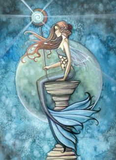 Items similar to Mermaid Limited Edition Fine Art Print 11 x 15 'Jade Moon' Fantasy Watercolor by Molly Harrison on Etsy Mermaid Wall Art, Mermaid Fairy, Mermaid On Rock, Mermaid Pics, Real Mermaids, Mermaids And Mermen, Fantasy Illustration, Watercolor Illustration, Moon Illustration