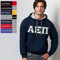 Greek Contrast Hood Sweatshirt with Flock