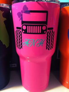 30oz Hot Pink SIC Cup with Personalized Jeep Girl & Monogram Initials Decal