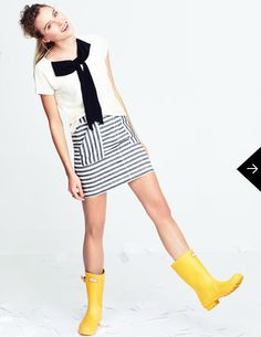short skirt + short wellies