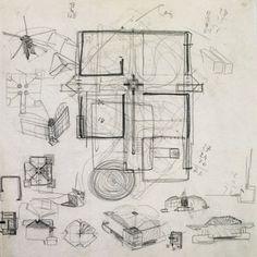Carlo Scarpa | Schizzo | Matite sul pergamena | Padiglione Venezuelano | Biennale di Venezia | Circa 1953-1954