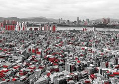 the far game in seoul, 2016: the far game works across all building types and scales from miniature houses to super tall buildings and vast apartment complexes. building sections in red indicate how building volume and spaces are extended outward within the city #venicearchitecturebiennale #architecture #imianco