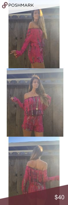 The Bella romper in fuschia burnout tie dye Handmade in Bali from gorgeous soft tie dye rayon cotton fabric. Beautiful Off shoulder romper design with elastic and drawstring waist for a universal fit. Works for size small-medium. A festival or boho travel  must have! handmade Pants Jumpsuits & Rompers