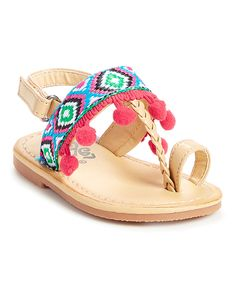 Take a look at this Xeyes Pink & Blue Geometric Embroidered Sandal today!