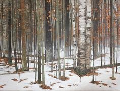 Winter Thaw 36×48 2013 original oil painting by Peter Rotter Canadian Painter