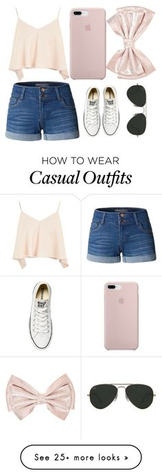 """sumer"" by arcarmona-ac on Polyvore featuring LE3NO, Topshop, Converse and Ray-Ban"