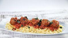 Spaghetti & Pecan Meatballs Recipe by Carla Hall - The Chew Potluck Recipes, Side Dish Recipes, Veggie Recipes, Pasta Recipes, Vegetarian Recipes, Dinner Recipes, Healthy Recipes, Potluck Food, Free Recipes